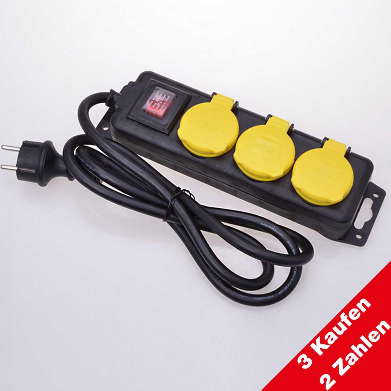 Aktion: 3 Kaufen 2 Zahlen 3-fach Steckdosenleiste mit Schalter für den Außenbereich