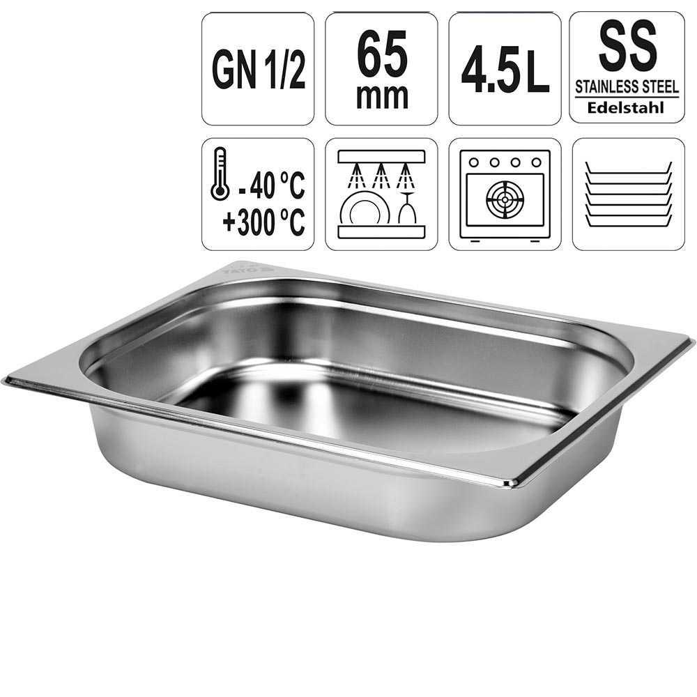 YATO Gastronorm Behälter Edelstahl 1/2 65mm