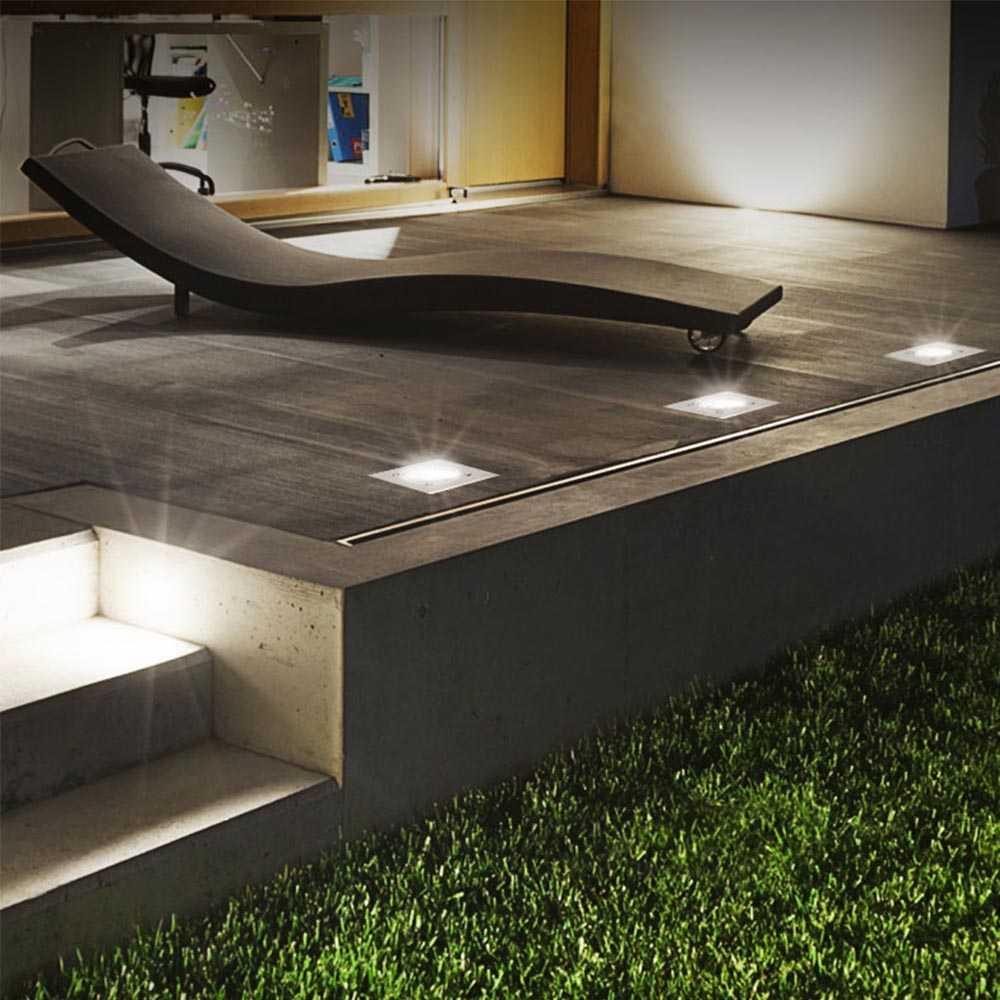 10er Set Grafner® Solar LED Bodenstrahler eckig Bodenleuchte Einbaustrahler