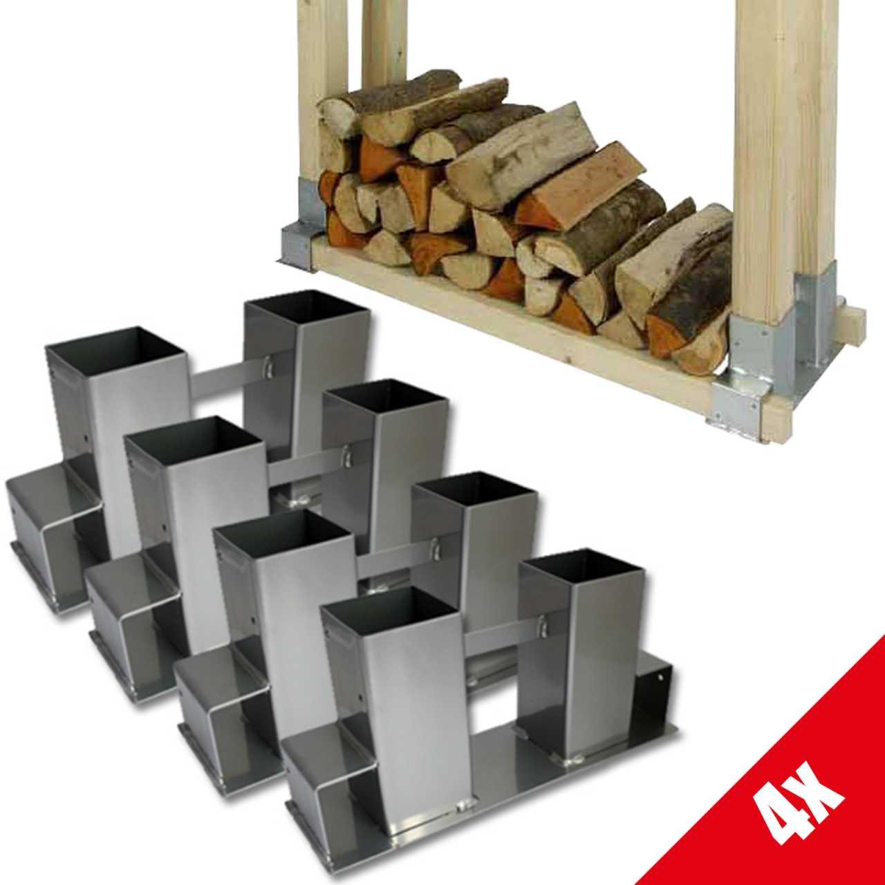 Grafner® 4x Holzstapelhilfe Holzstapelhalter Brennholz Kaminholzregal