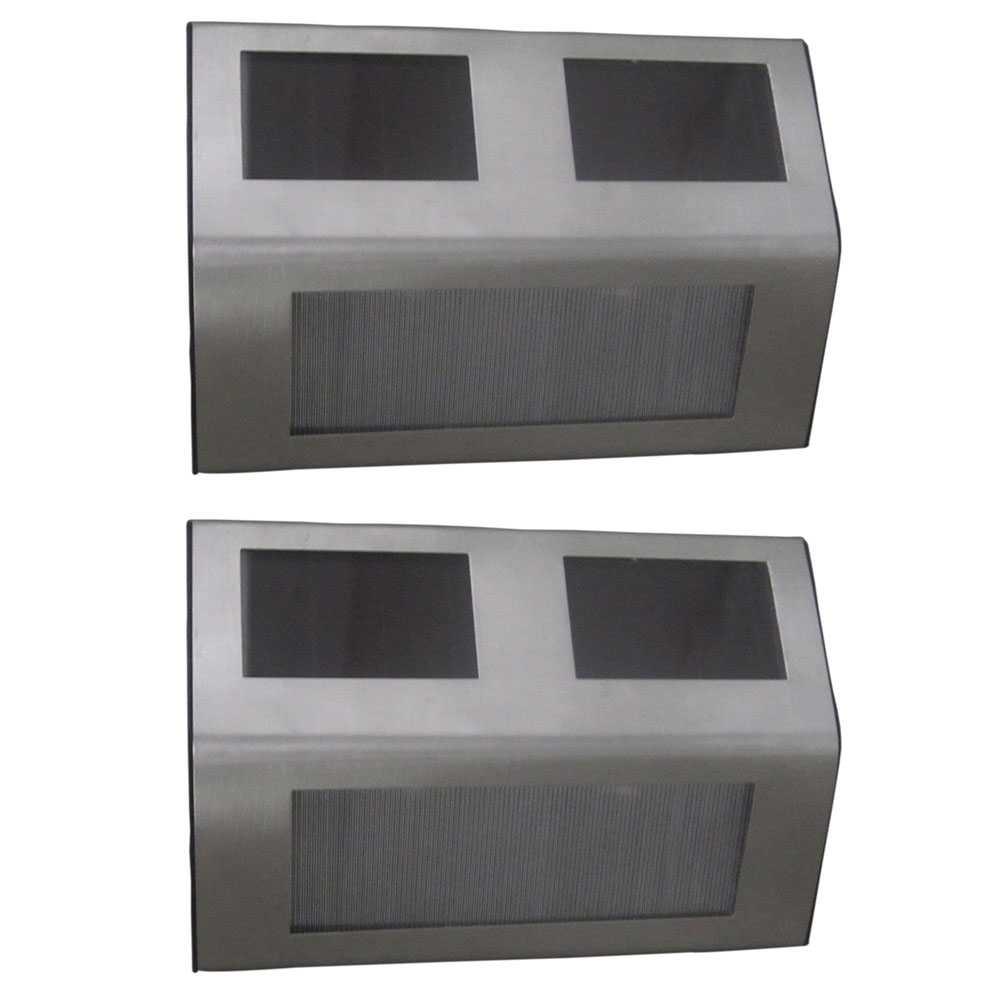 2er Set Grafner® LED Solar Stufenleuchte aus Edelstahl Treppenbeleuchtung Solar Wandleuchten