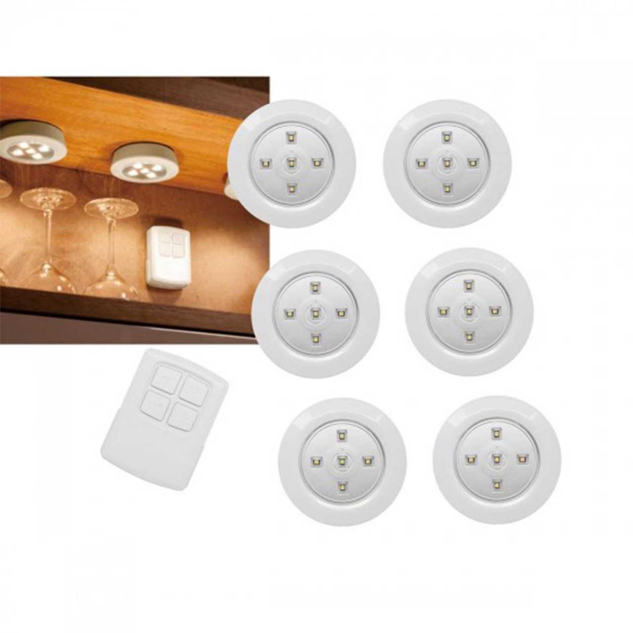 6er Set LED Unterbauleuchten mit Fernbedienung Schrankleuchten