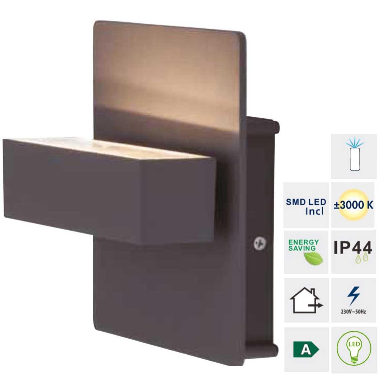 Grafner® Aluminium Wandlampe 6087 Leuchte Lichtschein Up/Oben in dunkelgrau mit integrierten LEDs