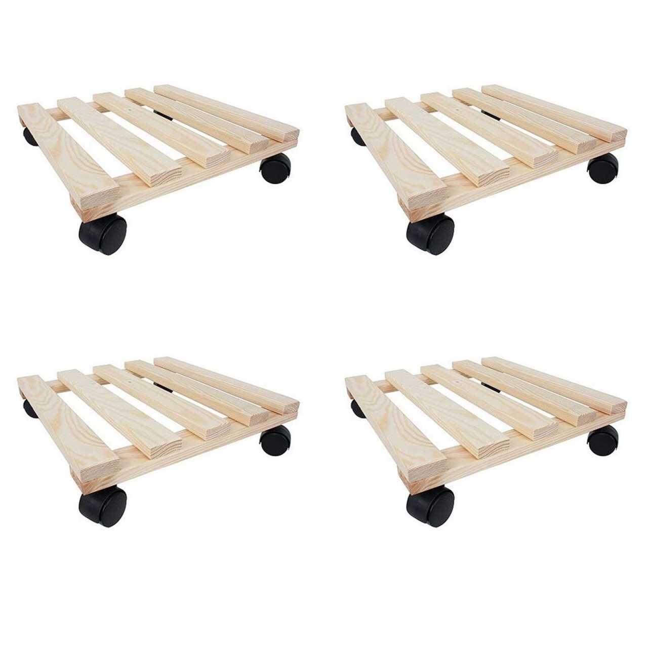 4er Set Pflanzenroller eckig aus Holz bis 100 Kg belastbar