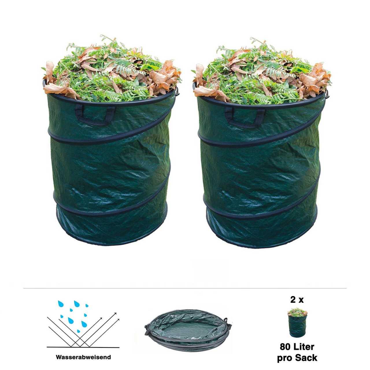 2er Set Grafner® Pop-Up Gartenabfallsack 80 Liter Gartentasche rund Laubsack