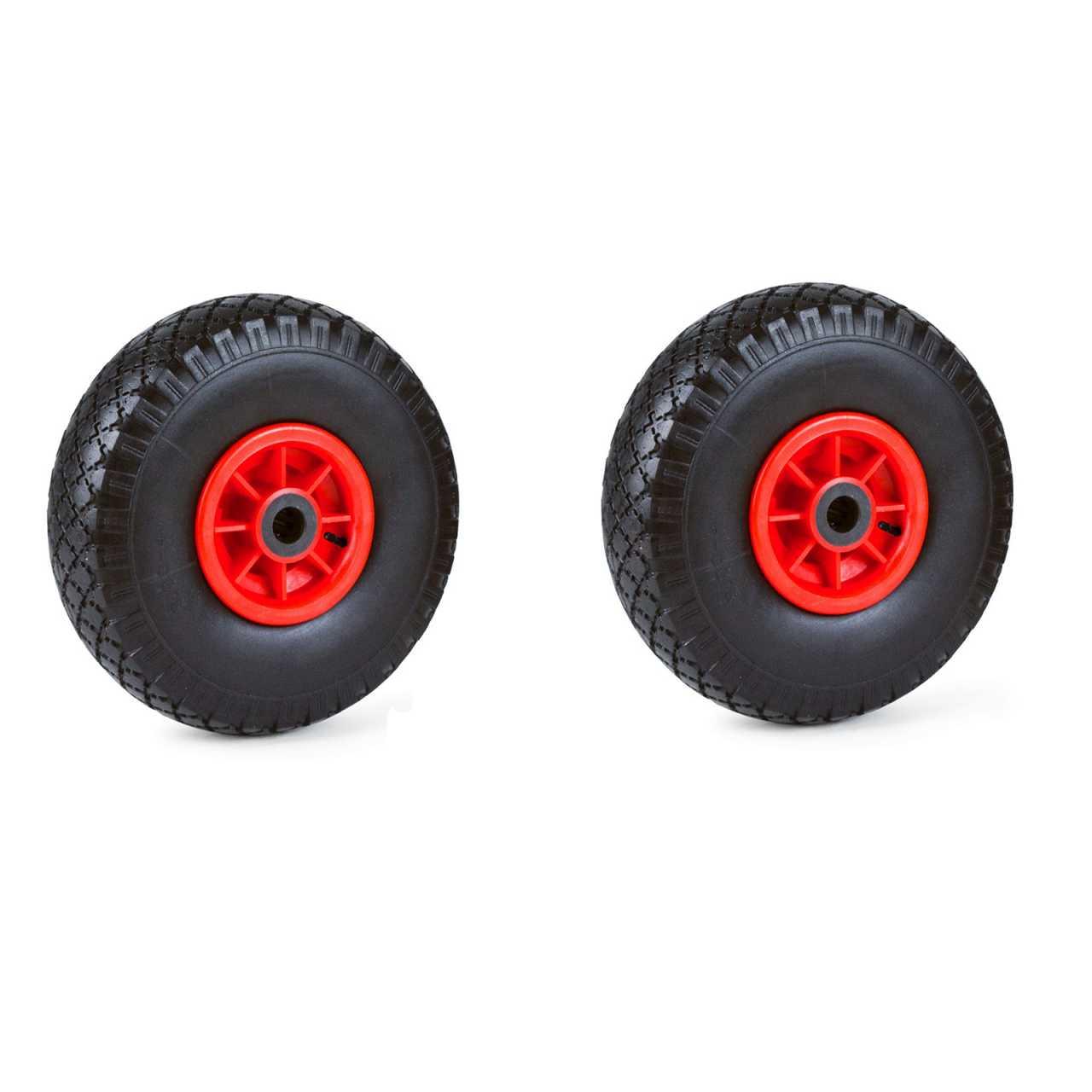 2er Set Grafner® Sackkarren/Bollerwagenrad 4.10/3.50-4 PU Luftbereifung Kunststoff Felge